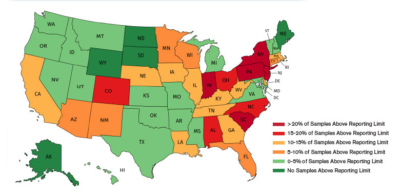 Heat map showing states that had 1,4-Dioxane levels that were above USEPA reporting limits