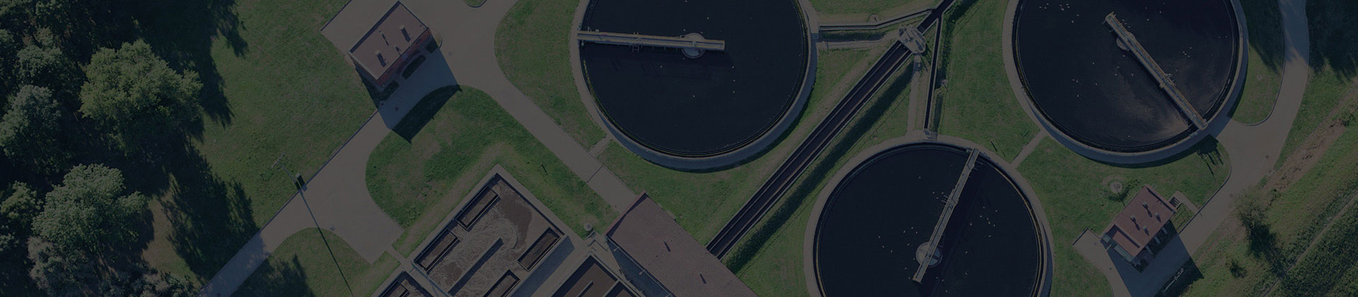 Aerial view of a wastewater treatment plant