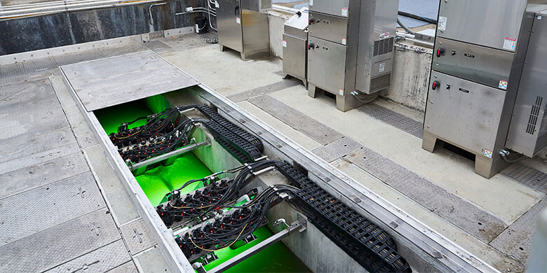 TrojanUVSigna two-row banks in wastewater effluent channel