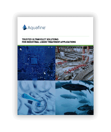 A brochure about Aquafine UV systems for industrial liquid treatment applications