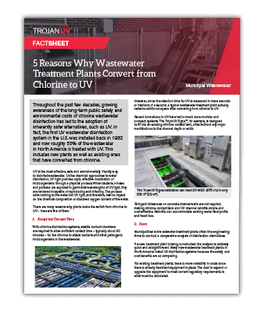 A fact sheet explaining five reasons why wastewater treatment plants convert from chlorine to UV disinfection