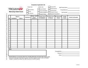 Closed-vessel Warranty Claim Form