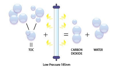A graphic depicting total organic carbon reduction using UV disinfection technology