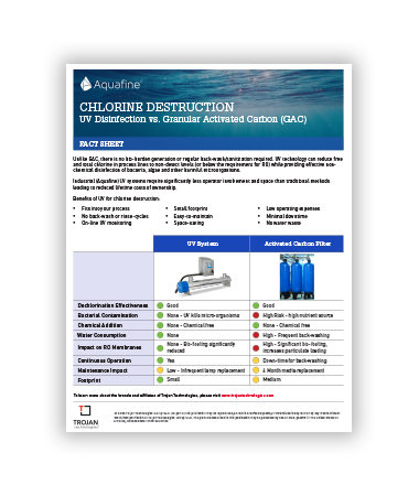 A fact sheet about that compares UV disinfection and granular activated carbon for chlorine destruction