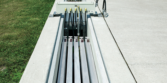 A TrojanUV3000B installation at a wastewater treatment plant in Ontario, Canada