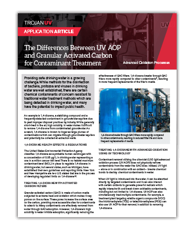 An article explaining the differences between the UV advanced oxidation process (UV AOP) and granular activated carbon for contaminant treatment